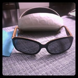 Coach Sunglasses (script)and white clamshell case